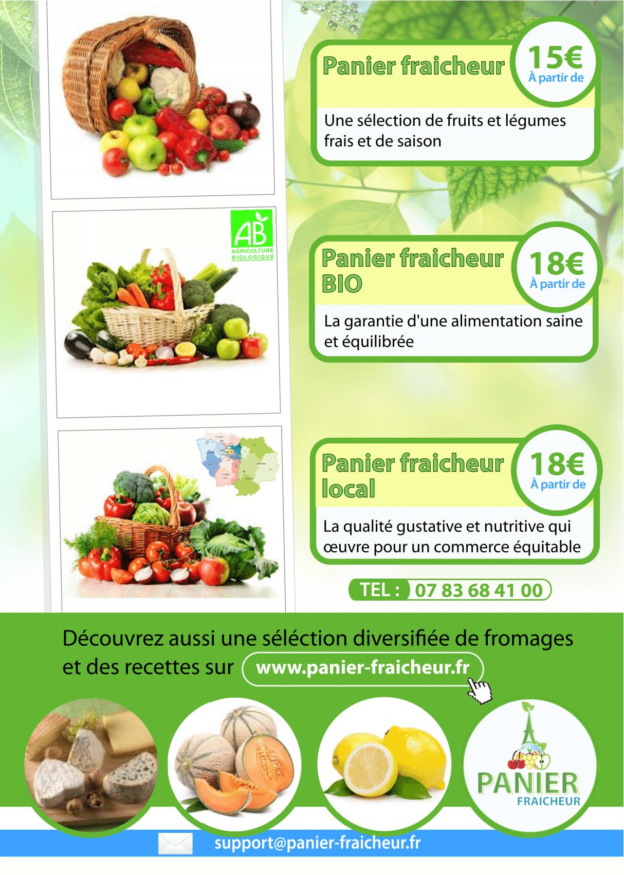 Panier Fraicheur, livraison de panier de fruits et légumes frais